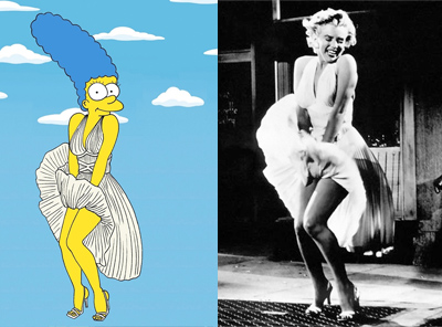 Marge Simpson as Marilyn Monroe Famous Shot Campaign Art Cartoon Illustration Satire Sketch Fashion Luxury Style Iconic Shot Dresses all the time The simpsons  Humor Chic by aleXsandro Palombo 1