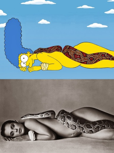 Marge Simpson as Nastassja Kinski and the Serpent, June 14, 1981 by Richard Avedon Iconic Shots Art Fashion Luxury Satire Illustration Cartoon Painting The Simpsons Humor Chic by aleXsandro Palombo 1b