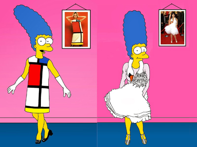 Marge Simpsonin Mondrian Dress Yves Saint Laurent Art Cartoon Illustration Satire Sketch Fashion Luxury Style Iconic Shot Dresses all the time The simspsons  Humor Chic by aleXsandro Palombo 1